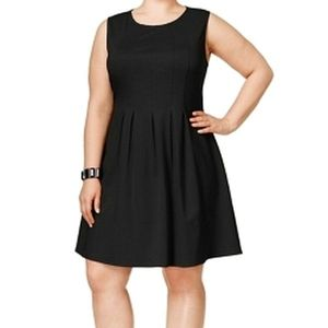 Monteau Pleated Stretch Fit & Flare Dress